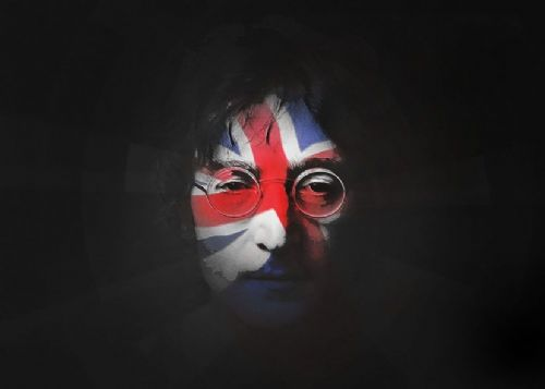 THE BEATLES - JOHN LENNON - UK flag canvas print - self adhesive poster - photo print